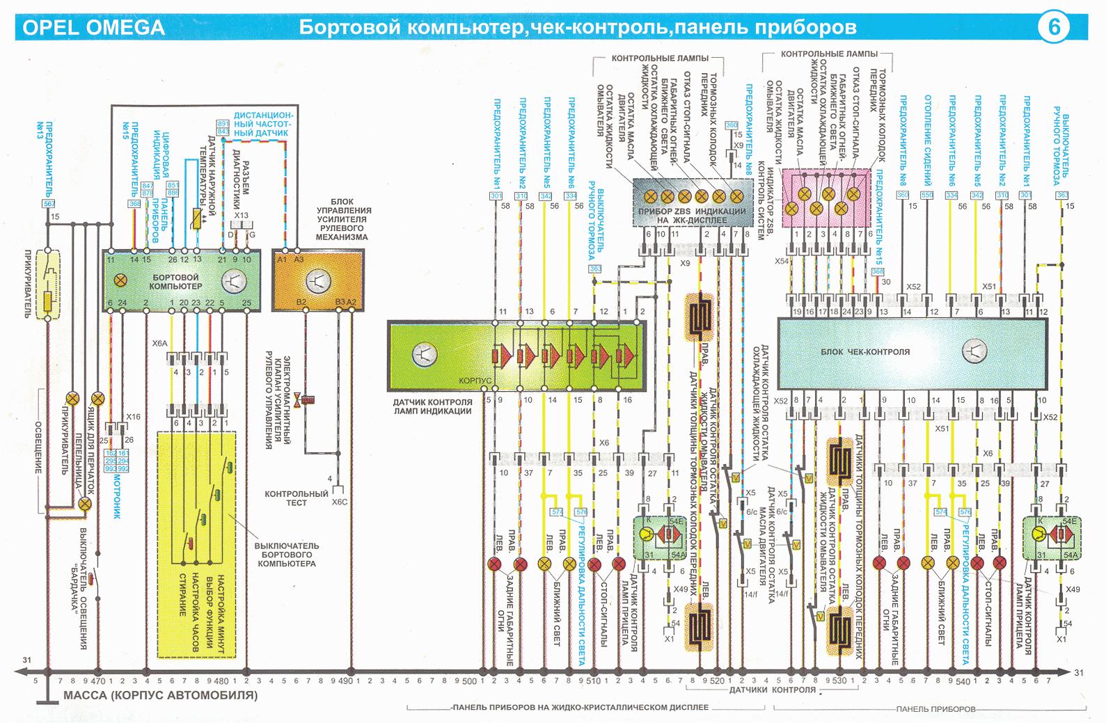 Схема панель приборов от опель вектры